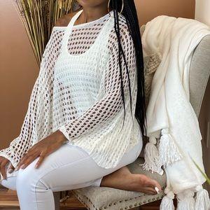 ‼️ White Net Crochet Loose Fit Offshoulder Sweater